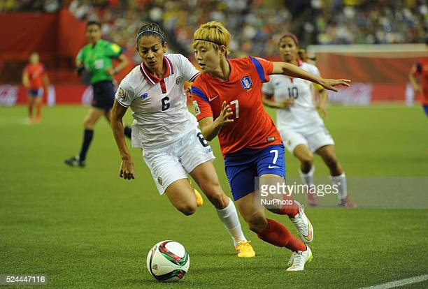 Montreal June 132015 Jeon Gaeul of Korea Republic vies with Carol Sanchez of Costa Rica during their group E match at the 2015 FIFA Women' s World...