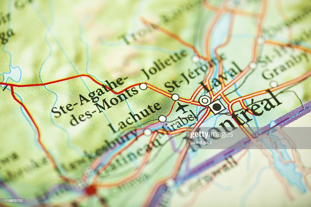 Montreal Map Canada Stock Photo Getty Images - Montreal canada map