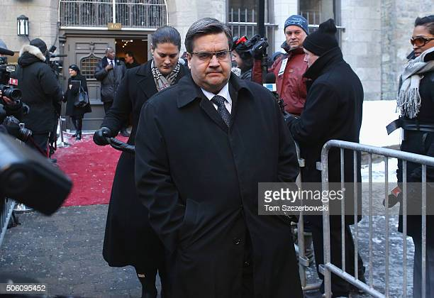 Montreal Mayor Denis Coderre attends the Public Memorial Service for Celine Dion's Husband Rene Angelil at NotreDame Basilica on January 21 2016 in...
