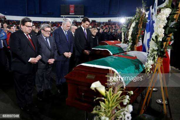 Montreal mayor Denis Coderre Quebec City mayor Regis Labeaume Quebec Premier Philippe Couillard and Canada's Prime Minister Justin Trudeau pay their...