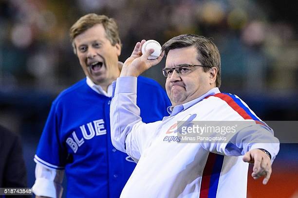 Montreal Mayor Denis Coderre throws the ceremonial pitch during the MLB spring training game between the Toronto Blue Jays and the Boston Red Sox at...