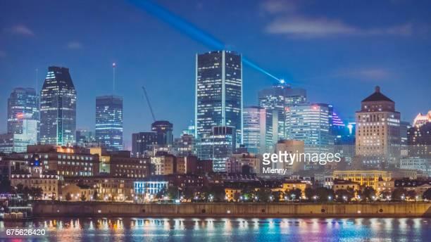 Montreal Skyline at Night Illuminated Cityscape Panorama Quebec Canada