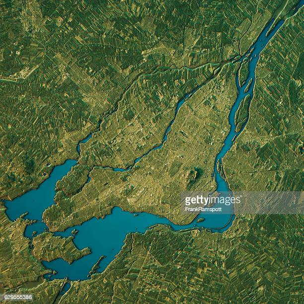 Montreal Topographic Map Natural Color Top View