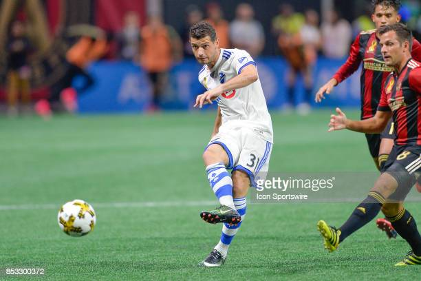 Montreal's Blerim Dzemaili passes the ball during the match between Atlanta United and the Montreal Impact on September 24 2017 at MercedesBenz...