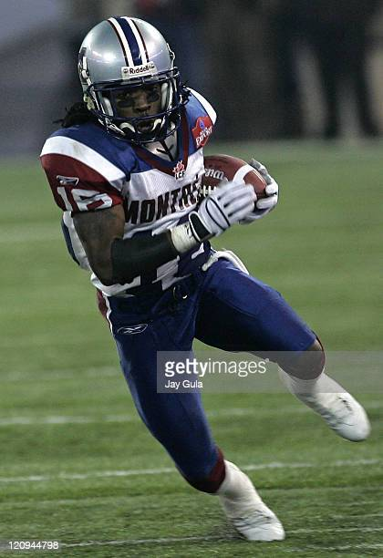 Montreal's Ezra Landry returns a punt in the CFL East Final at Rogers Centre in Toronto Ontario Canada on November 20 2005