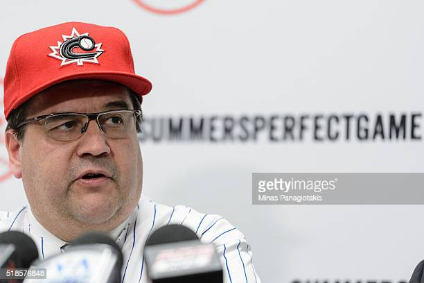 Montreal's Mayor Denis Coderre addresses the media prior to the MLB spring training game between the Toronto Blue Jays and the Boston Red Sox at...