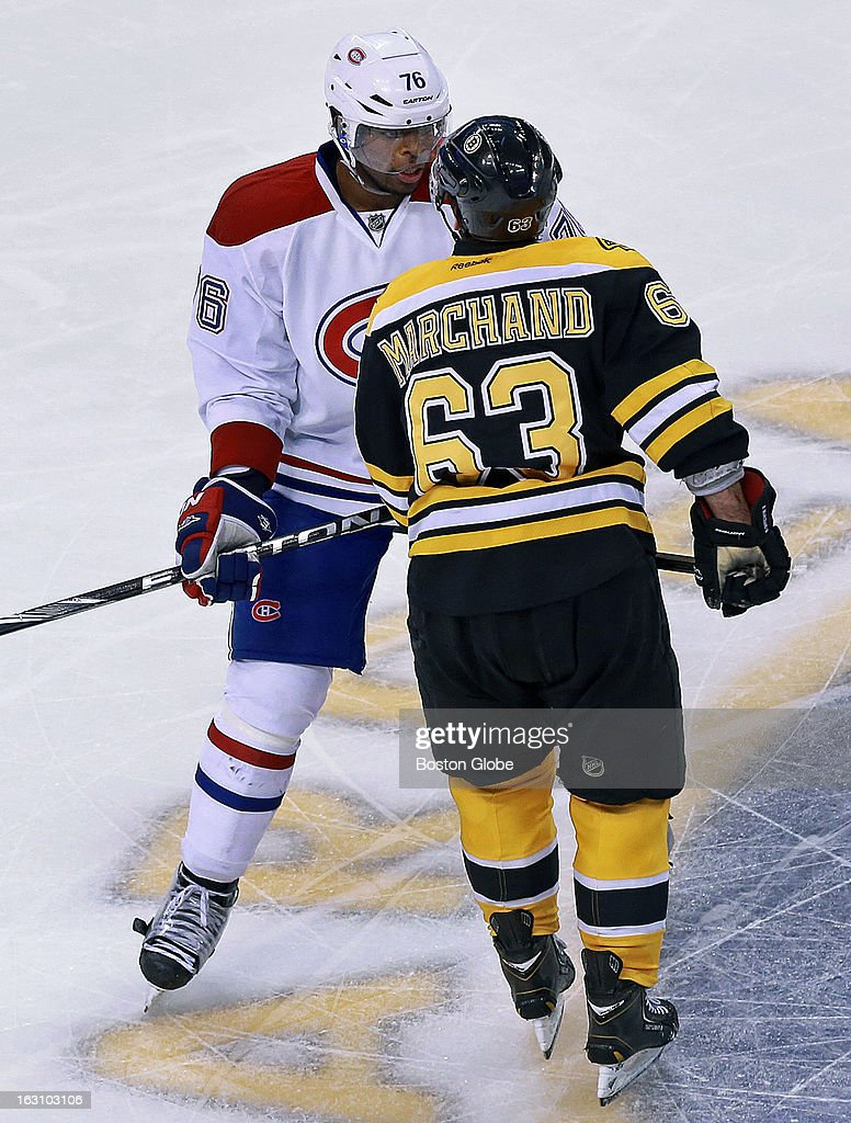 Montreal's P.K. Subban, left, and the Bruins' Brad Marchand, right, stare each other down but no punches were thrown during a second period incident as the Boston Bruins hosted the Montreal Canadiens in a regular season NHL hockey game at the TD Garden.