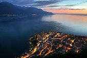 Aerial sunset view of Montreux, on the shore of Lake Geneva (Lake Leman) in Switzerland.