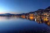 Montreux waterfront at sunset, Switzerland