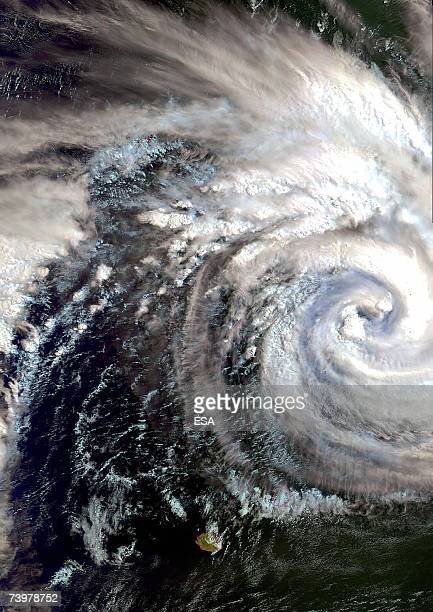 TO GO WITH AFP FRENCH STORY BY PATRICK BAERT Tropical Cyclone Gamede is visible making its way across the Indian Ocean just above the islands of...