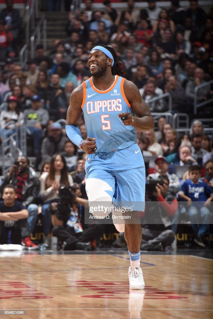 Montrezl Harrell #5 of the LA Clippers during the game against the Portland Trail Blazers on March 18, 2018 at STAPLES Center in Los Angeles, California.