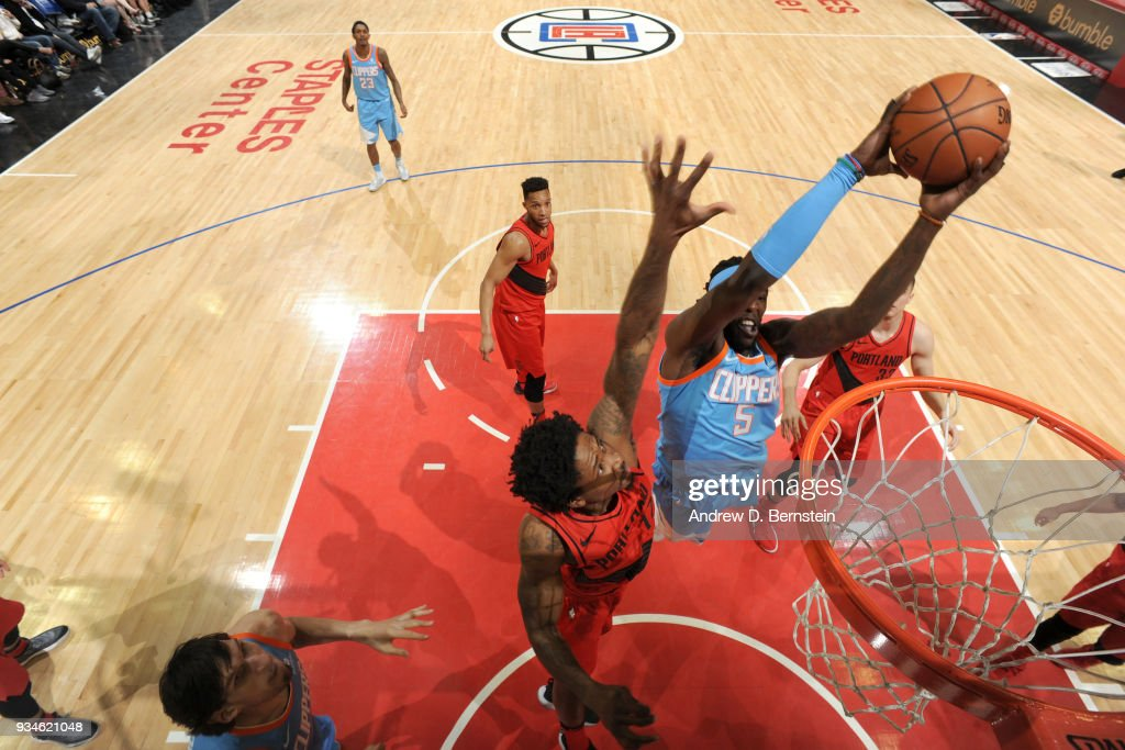 Montrezl Harrell #5 of the LA Clippers goes to the basket against the Portland Trail Blazers on March 18, 2018 at STAPLES Center in Los Angeles, California.