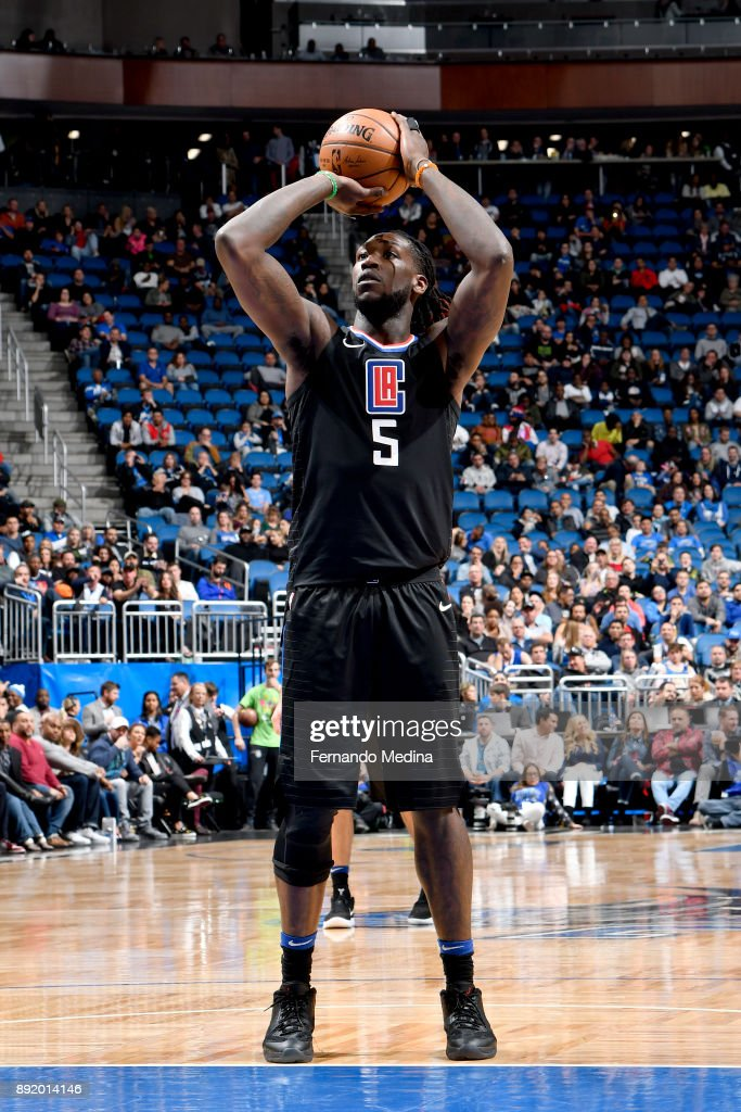 Montrezl Harrell #5 of the LA Clippers shoots the ball from the free-throw line during the game against the Orlando Magic on December 13, 2017 at Amway Center in Orlando, Florida.