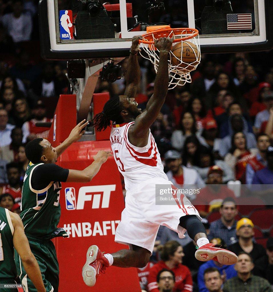 Montrezl Harrell #5 of the Houston Rockets dunks on John Henson #31 of the Milwaukee Bucks at Toyota Center on January 18, 2017 in Houston, Texas.