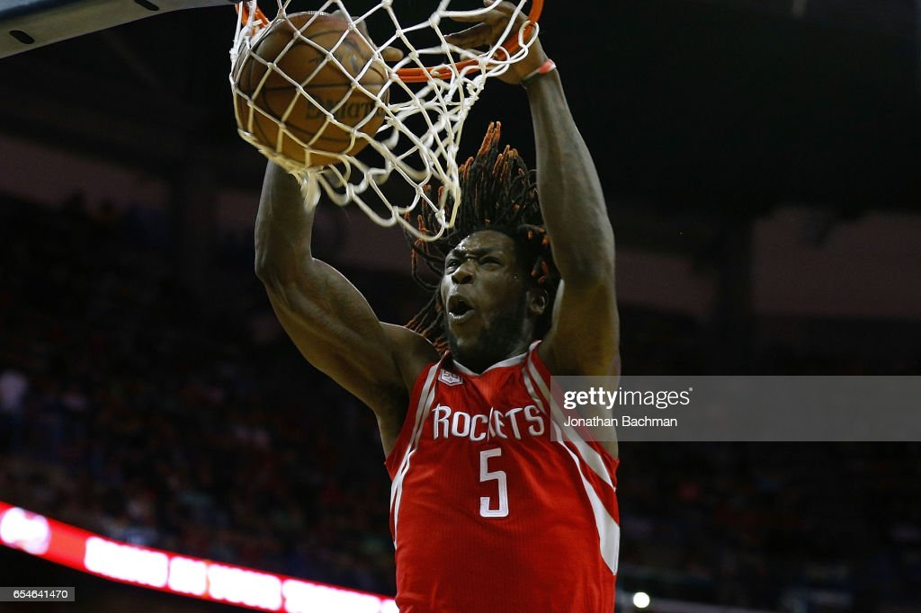 Montrezl Harrell #5 of the Houston Rockets dunks the ball during the second half of a game against the New Orleans Pelicans at Smoothie King Center on March 17, 2017 in New Orleans, Louisiana.