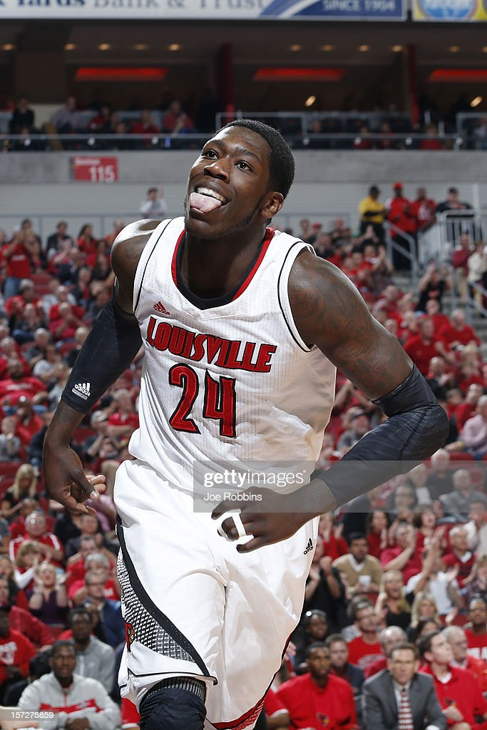 Montrezl Harrell #24 of the Louisville Cardinals celebrates after scoring a basket against the Illinois State Redbirds during the game at KFC Yum! Center on December 1, 2012 in Louisville, Kentucky. Louisville won 69-66.