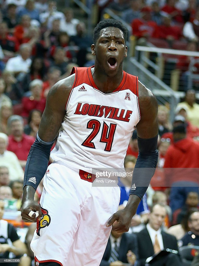 <a gi-track='captionPersonalityLinkClicked' href=/galleries/search?phrase=Montrezl+Harrell&family=editorial&specificpeople=9959702 ng-click='$event.stopPropagation()'>Montrezl Harrell</a> #24 of the Louisville Cardinals celebrates during the game against the Missouri-Kansas City Kangaroos at KFC YUM! Center on December 4, 2013 in Louisville, Kentucky.