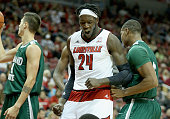 Montrezl Harrell of the Louisville Cardinals celebrates during the game against the Cleveland State Vikings at KFC YUM Center on November 26 2014 in...