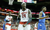 Montrezl Harrell of the Louisville Cardinals celebrates during the game against the Kentucky Wilcats at KFC YUM Center on December 27 2014 in...