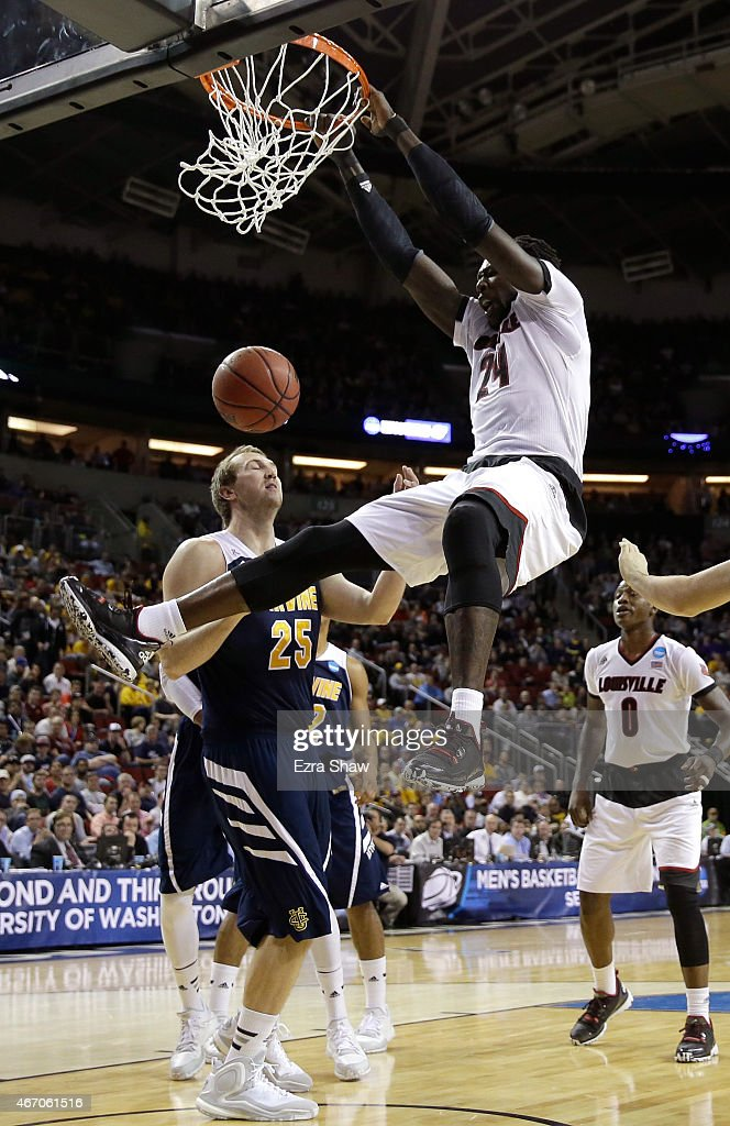 <a gi-track='captionPersonalityLinkClicked' href=/galleries/search?phrase=Montrezl+Harrell&family=editorial&specificpeople=9959702 ng-click='$event.stopPropagation()'>Montrezl Harrell</a> #24 of the Louisville Cardinals dunks against John Ryan #25 of the UC Irvine Anteaters in the first half during the second round of the 2015 NCAA Men's Basketball Tournament at KeyArena on March 20, 2015 in Seattle, Washington.