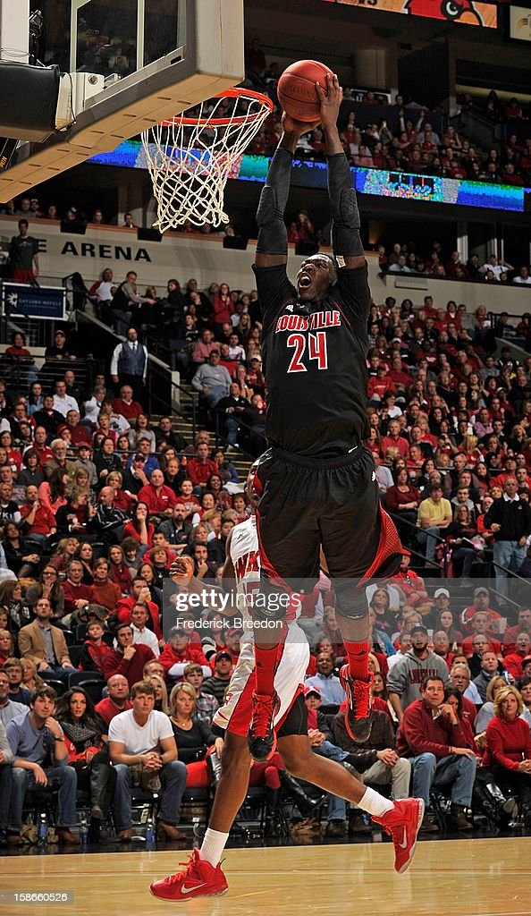 Montrezl Harrell #24 of the Louisville Cardinals dunks against the Western Kentucky Hilltoppers at Bridgestone Arena on December 22, 2012 in Nashville, Tennessee.