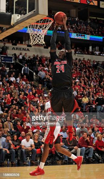 Montrezl Harrell of the Louisville Cardinals dunks against the Western Kentucky Hilltoppers at Bridgestone Arena on December 22 2012 in Nashville...