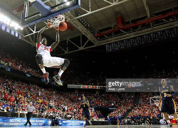 Montrezl Harrell of the Louisville Cardinals dunks against the North Carolina AT Aggies during the second round of the 2013 NCAA Men's Basketball...