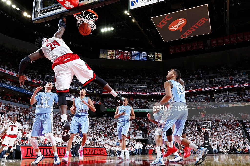Montrezl Harrell of the Louisville Cardinals dunks in the second half of the game against the North Carolina Tar Heels at KFC Yum Center on January...