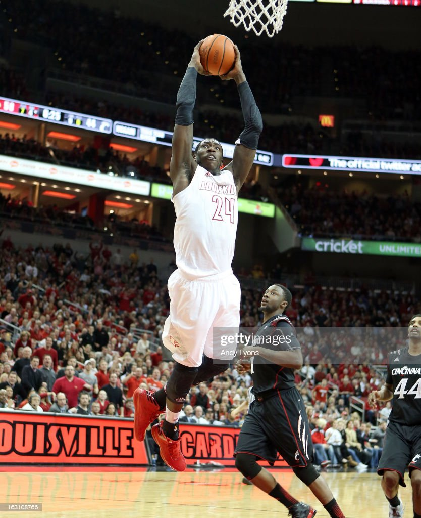 Montrezl Harrell #24 of the Louisville Cardinals dunks the ball during the game against the Cincinnati Bearcats at KFC YUM! Center on March 4, 2013 in Louisville, Kentucky.
