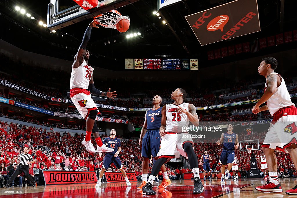 <a gi-track='captionPersonalityLinkClicked' href=/galleries/search?phrase=Montrezl+Harrell&family=editorial&specificpeople=9959702 ng-click='$event.stopPropagation()'>Montrezl Harrell</a> #24 of the Louisville Cardinals dunks the ball in the second half of the game against the Virginia Cavaliers at KFC Yum! Center on March 7, 2015 in Louisville, Kentucky. Louisville defeated Virginia 59-57.