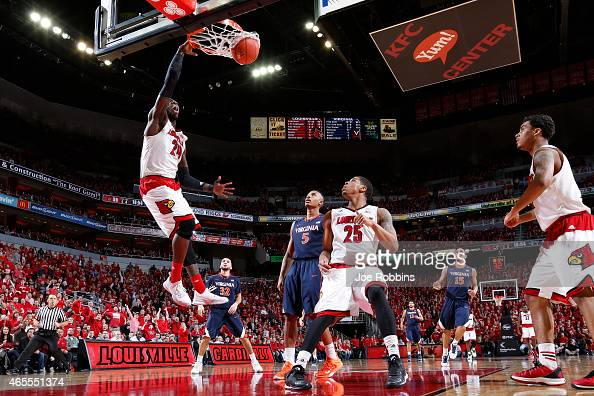 Montrezl Harrell of the Louisville Cardinals dunks the ball in the second half of the game against the Virginia Cavaliers at KFC Yum Center on March...