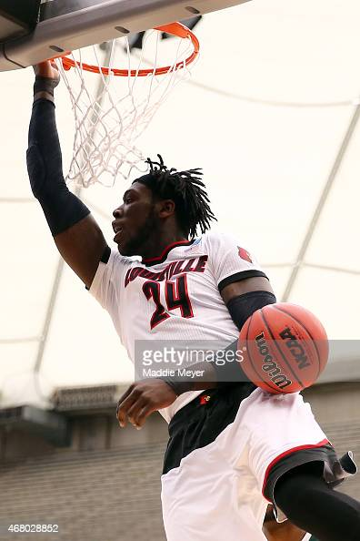 Montrezl Harrell of the Louisville Cardinals dunks the ball in the first half of the game against the Michigan State Spartans during the East...