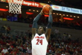 Montrezl Harrell of the Louisville Cardinals dunks the ball while against the Kentucky Wesleyan Panthers during the exhibition game at KFC YUM Center...