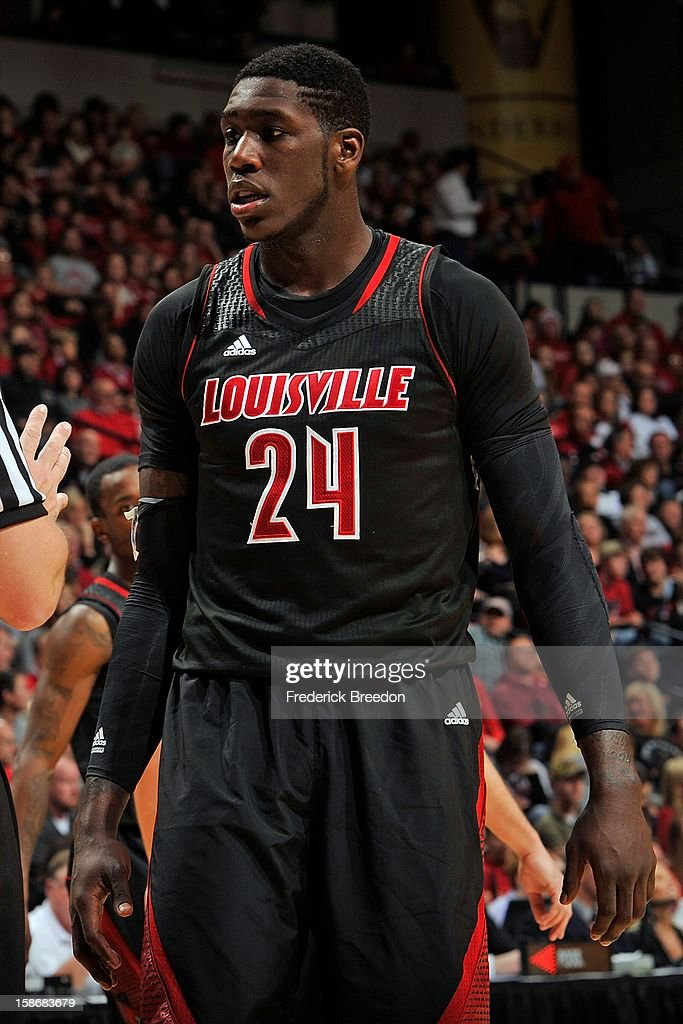 Montrezl Harrell #24 of the Louisville Cardinals plays against of the Western Kentucky Hilltoppers at Bridgestone Arena on December 22, 2012 in Nashville, Tennessee.