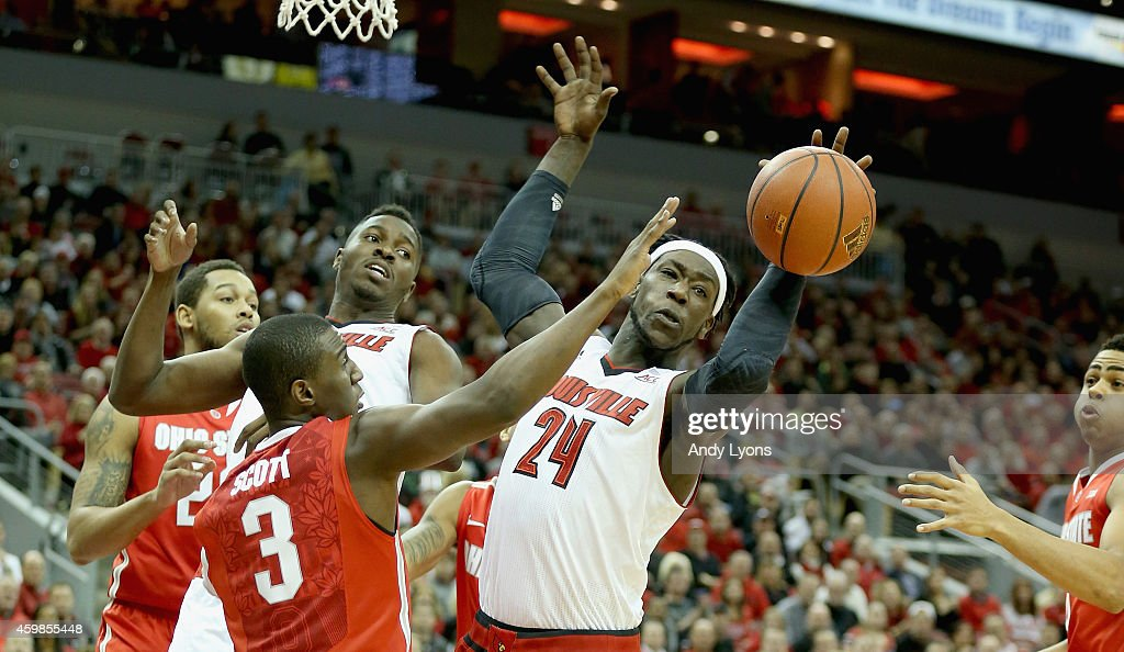 <a gi-track='captionPersonalityLinkClicked' href=/galleries/search?phrase=Montrezl+Harrell&family=editorial&specificpeople=9959702 ng-click='$event.stopPropagation()'>Montrezl Harrell</a> #24 of the Louisville Cardinals reaches for the ball during the game against the Ohio State Buckeyes at KFC YUM! Center on December 2, 2014 in Louisville, Kentucky.