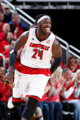 Montrezl Harrell of the Louisville Cardinals reacts after a basket in the first half of the game against the Virginia Cavaliers at KFC Yum Center on...