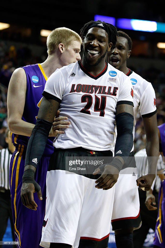 Montrezl Harrell #24 of the Louisville Cardinals reacts after a dunk in the second half of the game against the Northern Iowa Panthers during the third round of the 2015 NCAA Men's Basketball Tournament at KeyArena on March 22, 2015 in Seattle, Washington.