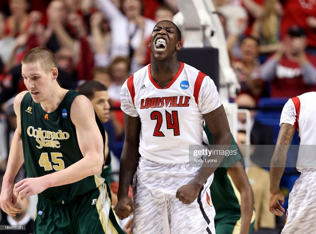 Montrezl Harrell of the Louisville Cardinals reacts after a play against the Colorado State Rams in the first half during the third round of the 2013...