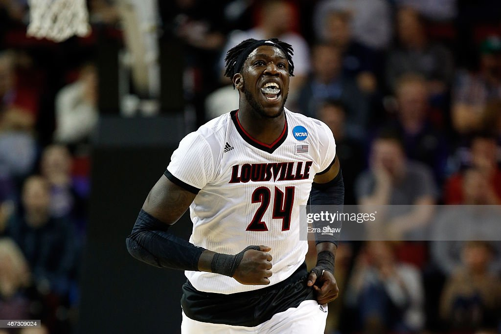 Montrezl Harrell of the Louisville Cardinals reacts after a shot in the first half of the game against the Northern Iowa Panthers during the third...