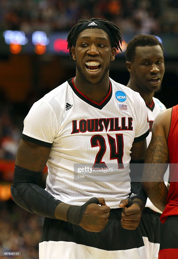 <a gi-track='captionPersonalityLinkClicked' href=/galleries/search?phrase=Montrezl+Harrell&family=editorial&specificpeople=9959702 ng-click='$event.stopPropagation()'>Montrezl Harrell</a> #24 of the Louisville Cardinals reacts after a shot in the first half of the game against the North Carolina State Wolfpack during the East Regional Semifinal of the 2015 NCAA Men's Basketball Tournament at the Carrier Dome on March 27, 2015 in Syracuse, New York.