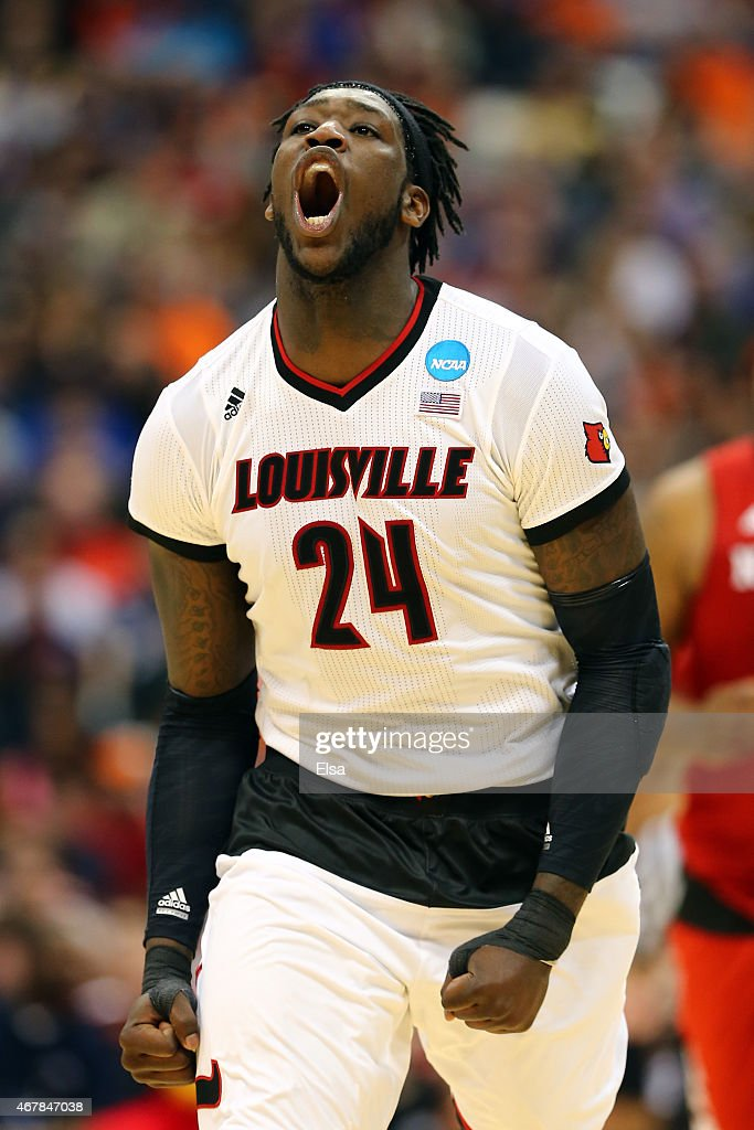 Montrezl Harrell #24 of the Louisville Cardinals reacts after a shot against the North Carolina State Wolfpack in the second half of the game during the East Regional Semifinal of the 2015 NCAA Men's Basketball Tournament at the Carrier Dome on March 27, 2015 in Syracuse, New York.