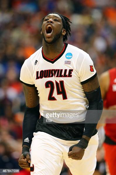 Montrezl Harrell of the Louisville Cardinals reacts after a shot against the North Carolina State Wolfpack in the second half of the game during the...