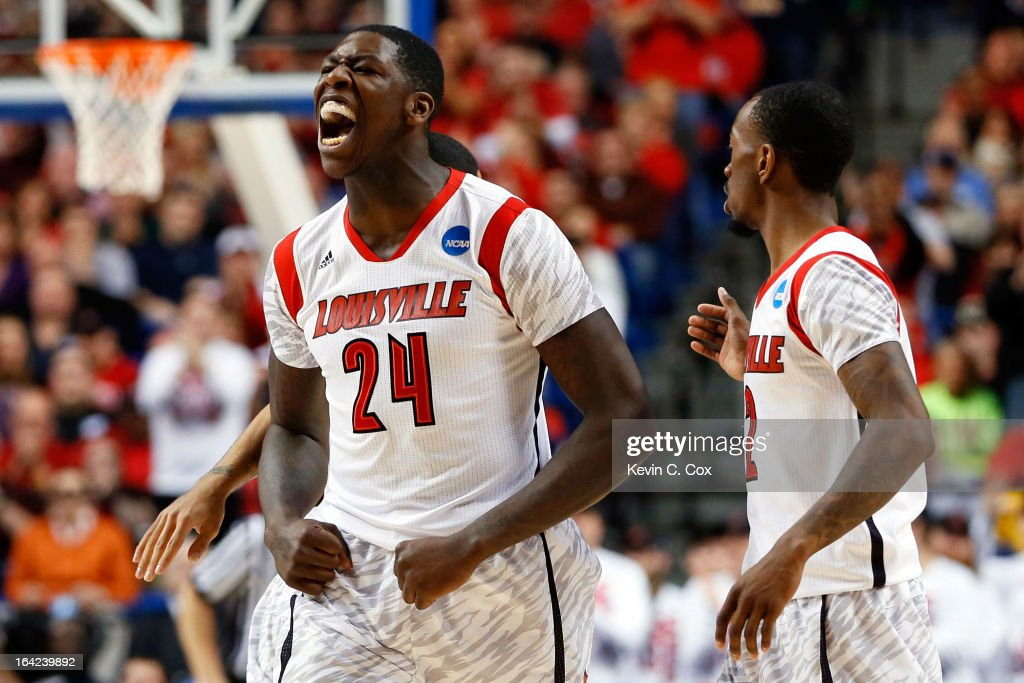 Montrezl Harrell #24 of the Louisville Cardinals reacts after a turnover against the North Carolina A&T Aggies during the second round of the 2013 NCAA Men's Basketball Tournament at the Rupp Arena on March 21, 2013 in Lexington, Kentucky.