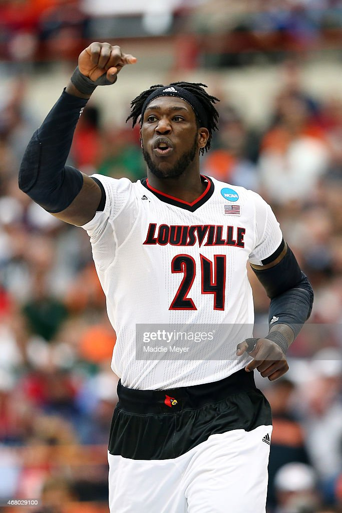 <a gi-track='captionPersonalityLinkClicked' href=/galleries/search?phrase=Montrezl+Harrell&family=editorial&specificpeople=9959702 ng-click='$event.stopPropagation()'>Montrezl Harrell</a> #24 of the Louisville Cardinals reacts in the first half of the game against the Michigan State Spartans during the East Regional Final of the 2015 NCAA Men's Basketball Tournament at Carrier Dome on March 29, 2015 in Syracuse, New York.