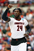 Montrezl Harrell of the Louisville Cardinals reacts in the first half of the game against the Michigan State Spartans during the East Regional Final...