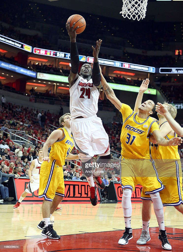 Montrezl Harrell #24 of the Louisville Cardinals shoots the ball during the game against the Missouri-Kansas City Kangaroos at KFC YUM! Center on December 8, 2012 in Louisville, Kentucky. Louisville won 99-47.