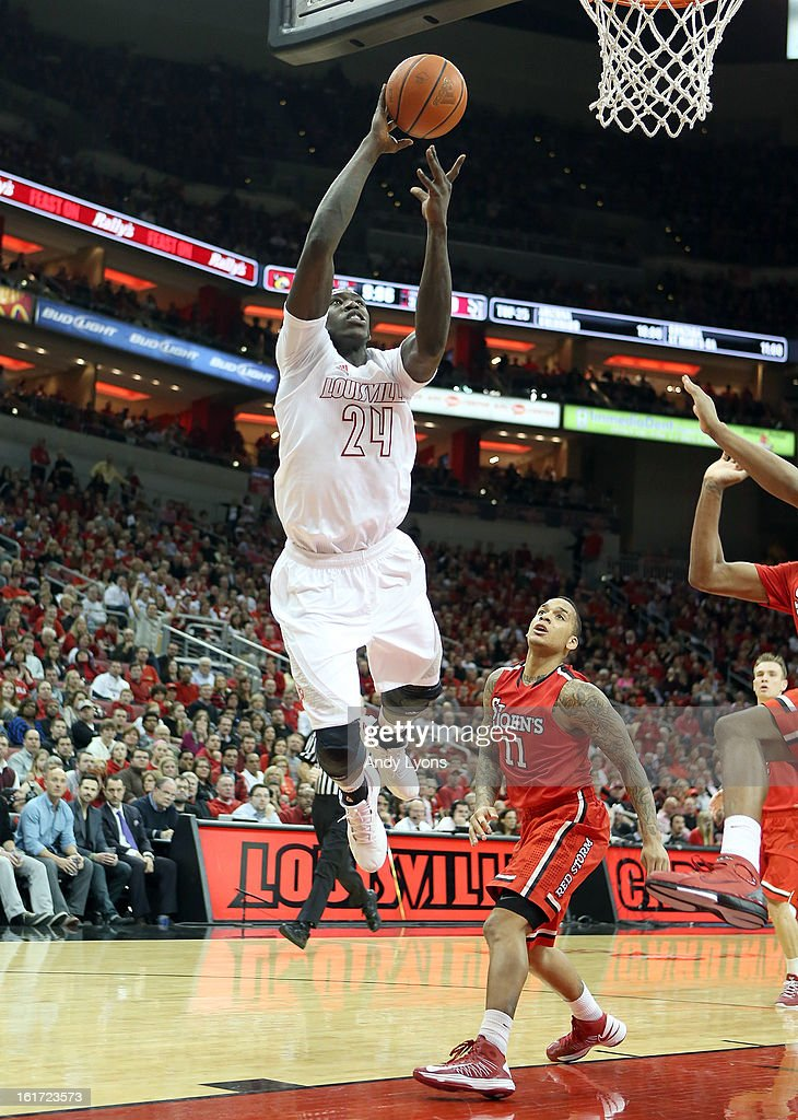 Montrezl Harrell #24 of the Louisville Cardinals shoots the ball during the game against the St. John's Red Storm at KFC YUM! Center on February 14, 2013 in Louisville, Kentucky.