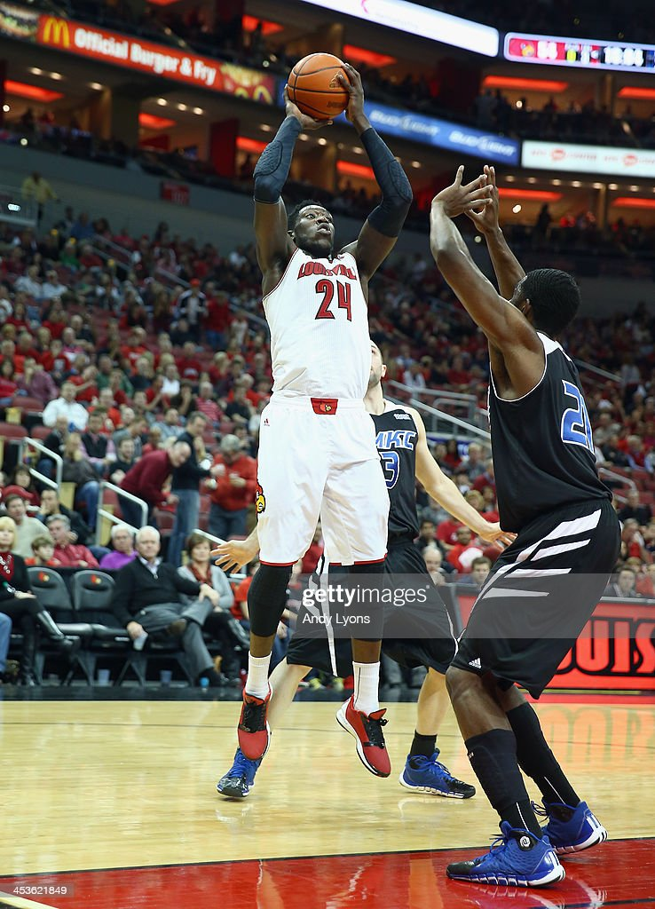 <a gi-track='captionPersonalityLinkClicked' href=/galleries/search?phrase=Montrezl+Harrell&family=editorial&specificpeople=9959702 ng-click='$event.stopPropagation()'>Montrezl Harrell</a> #24 of the Louisville Cardinalsshoots the ball during the game against the Missouri-Kansas City Kangaroos at KFC YUM! Center on December 4, 2013 in Louisville, Kentucky.