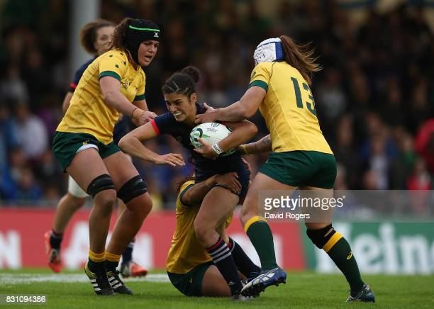 Montserrat Amedee of France is tacked by Cheyenne Campbell of Australia during the Women's Rugby World Cup 2017 match between France and Australia on...