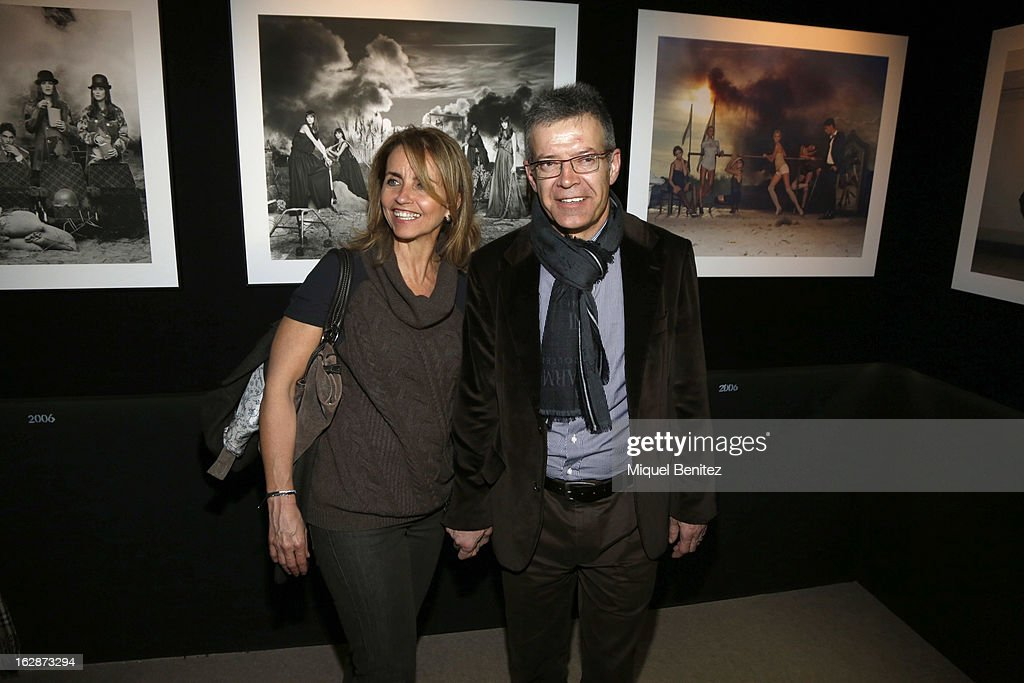 Montserrat Bernabeu and Joan Pique attend the 'Jaime de la Iguana Exhibition' at Palau Robert on February 28, 2013 in Barcelona, Spain.